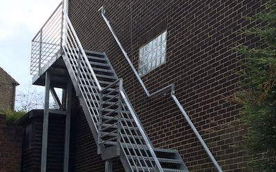 Emergency Exit Mild Steel Staircase with Galvanised Finish (2)